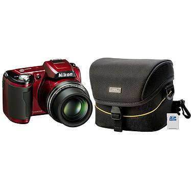 Nikon Coolpix L110 Rouge + Etui Nikon CS-P03 + Carte SD 4 Go Nikon Coolpix L110 Rouge + Etui Nikon CS-P03   Carte SD 4 Go - Appareil photo 12.1 MP - Zoom 15x - Vidéo HD