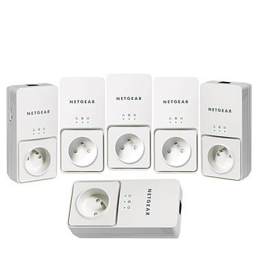 Netgear XAVT2501X2 Netgear XAVT2501X2 - Pack de 6 Adaptateurs CPL Ethernet 200 Mbit/s avec prise électrique