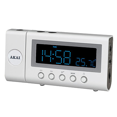 Akai ARP-100 Blanc Radio réveil projecteur 120°