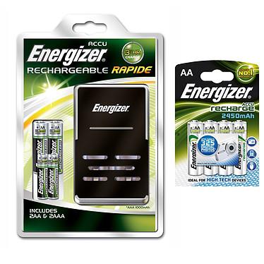 Energizer Chargeur + 2x AA 2500 mAh + 2x AAA 1000 mAh et 4x AA 2450 mAh offertes Energizer Chargeur avec 4 piles rechargeables Ni-MH (2x AA 2500 mAh + 2x AAA 1000 mAh) + 4 piles AA HR06 2450 mAh offertes !