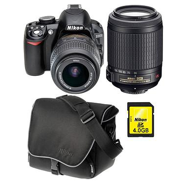 Nikon D3100 + 18-55 mm VR + 55-200 mm VR + Sacoche + Carte SDHC 4 Go Nikon D3100 + Objectif  AF-S DX NIKKOR 18-55 mm VR + AF-S DX NIKKOR 55-200 mm VR + Sacoche CF-EU04 + Carte SDHC 4 Go
