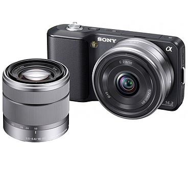 Sony NEX-3 Noir + Objectif 16 mm Sony NEX-3 Noir + Objectif 16 mm  + Objectif 18-55 mm - Appareil photo hybride 14.2 MP - Vidéo HD