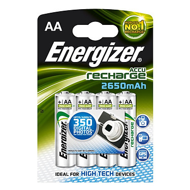 Energizer Rechargeable 4 piles rechargeables AA HR6 2650 mAh Energizer Rechargeable 4 piles rechargeables AA HR6 2650 mAh