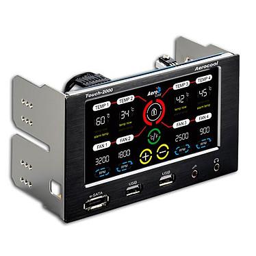 Aerocool Touch 2000 Rhéobus à écran LCD tactile (pour 4 ventilateurs) avec 2 ports USB, 1 port eSATA et 2 prises Jack