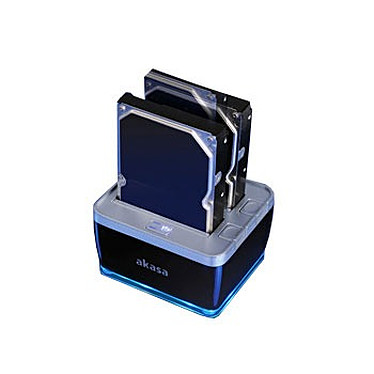"""Akasa AK-DK02U3 DuoDock 2S USB 3.0 Akasa AK-DK02U3 DuoDock 2S - Station d'accueil pour disque dur 2""""1/2 et 3""""1/2 sur port USB 3.0 (Noir/Argent)"""