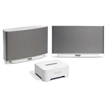2 Sonos PLAY 5 Blanc + Bridge Solution pour diffusion audio + Routeur sans fil sans-fil