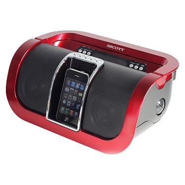 Scott I-SX 50 Rouge Radio MP3/WMA avec station d'accueil iPod / iPhone et port USB