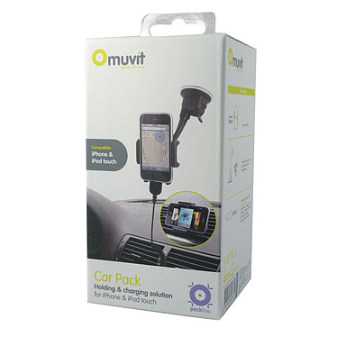 Muvit Car Pack pour iPhone 4 Support voiture hybride ventouse et grille + Chargeur allume-cigare pour iPhone 4
