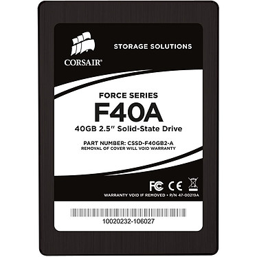 "Corsair Force Series F40A 40 Go SSD 40 Go 2.5"" Serial ATA 3Gb/s"