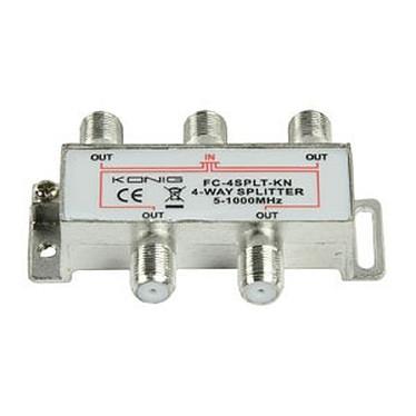 Répartiteur coaxial 4 voies Type F Répartiteur coaxial 4 voies Type F pour antenne TV