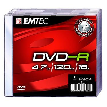 EMTEC DVD-R 4.7 Go certifié 16x (pack de 5)
