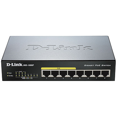 D-Link DGS-1008P Switch Gigabit 8 ports 10/100/1000 Mbps dont 4 ports PoE