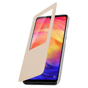 Avizar Etui folio Dorée à fenêtre pour Xiaomi Redmi Note 7 pas cher