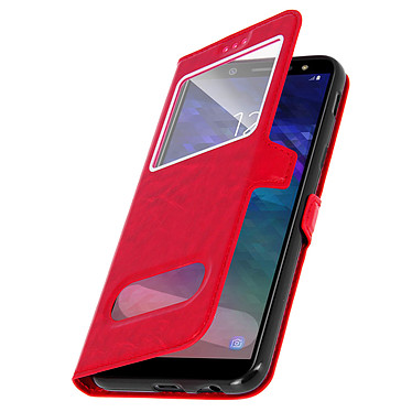 Avizar Etui folio Rouge Éco-cuir pour Samsung Galaxy A6 pas cher