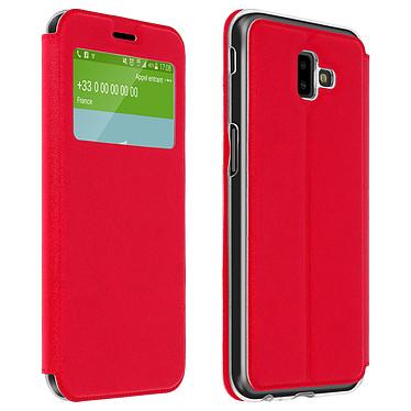 Avizar Etui folio Rouge à fenêtre pour Samsung Galaxy J6 Plus Etui folio Rouge à fenêtre Samsung Galaxy J6 Plus