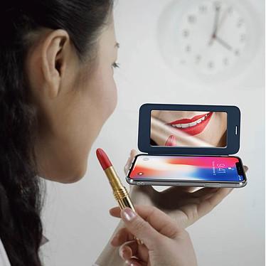 Acheter Avizar Etui folio Bleu Nuit Miroir pour Apple iPhone X , Apple iPhone XS