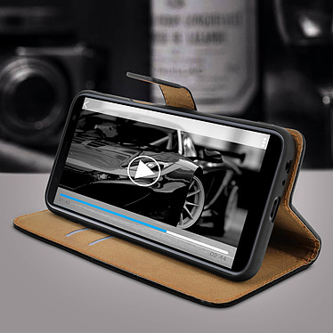 Avis Avizar Etui folio Noir Cuir véritable pour Samsung Galaxy J6 Plus