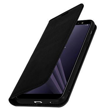 Avizar Etui folio Noir Cuir véritable pour Samsung Galaxy A6 Plus Etui folio Noir cuir véritable Samsung Galaxy A6 Plus