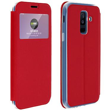 Avizar Etui folio Rouge à fenêtre pour Samsung Galaxy A6 Plus Etui folio Rouge à fenêtre Samsung Galaxy A6 Plus