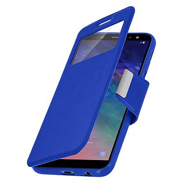 Avizar Etui folio Bleu à fenêtre pour Samsung Galaxy A6 pas cher