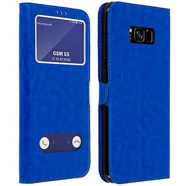 Avizar Etui folio Bleu Éco-cuir pour Samsung Galaxy S8 Plus Etui folio Bleu éco-cuir Samsung Galaxy S8 Plus