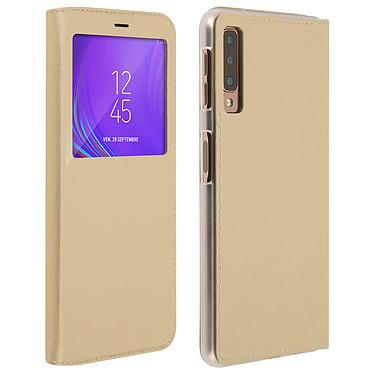 Avizar Etui folio Dorée à fenêtres pour Samsung Galaxy A7 2018 Etui folio Dorée à fenêtres Samsung Galaxy A7 2018