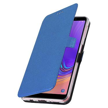 Avizar Etui folio Bleu Nuit Éco-cuir pour Samsung Galaxy A7 2018 pas cher