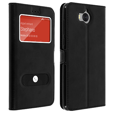 Avizar Etui folio Noir pour Huawei Y6 2017 pas cher