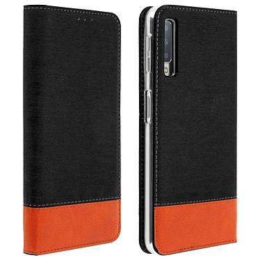 Avizar Etui folio Noir Bi-matières pour Samsung Galaxy A7 2018 Etui folio Noir bi-matières Samsung Galaxy A7 2018