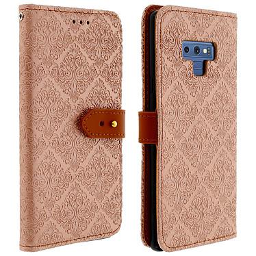Avizar Etui folio Rose Champagne Éco-cuir pour Samsung Galaxy Note 9 Etui folio Rose Champagne éco-cuir Samsung Galaxy Note 9