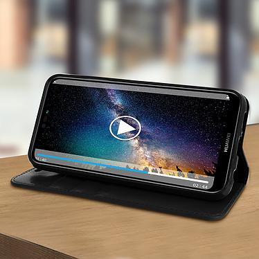 Avis Avizar Etui folio Noir Cuir véritable pour Huawei P20 Lite