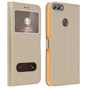 Avizar Etui folio Dorée Éco-cuir pour Huawei P Smart Etui folio Dorée éco-cuir Huawei P Smart
