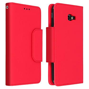 Avizar Etui folio Rouge Porte-Carte pour Samsung Galaxy J4 Plus Etui folio Rouge avec porte-carte Samsung Galaxy J4 Plus