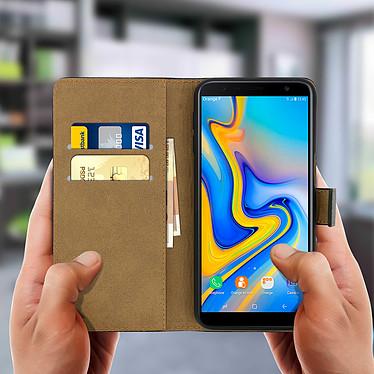 Acheter Avizar Etui folio Noir Cuir véritable pour Samsung Galaxy J6 Plus