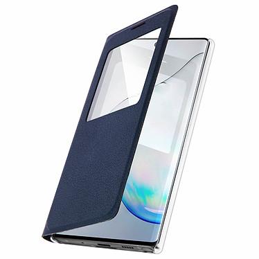 Avizar Etui folio Bleu Nuit à fenêtre pour Samsung Galaxy Note 10 pas cher