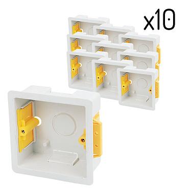 Appleby Lot De Dix Boîtes D'encastrement Carrées 35 Mm Blanches SB619BT Pack de 10 boites d'encastrement Appleby carrées, profondeur 35mm, coloris blanc. Pour interrupteurs et modules au format carrés.