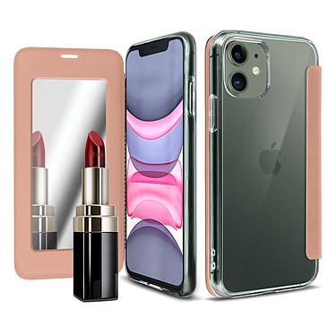 Avizar Etui folio Rose Champagne Miroir pour Apple iPhone 11 pas cher