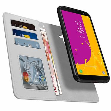 Avizar Etui folio Argent Porte-Carte pour Samsung Galaxy J6 pas cher