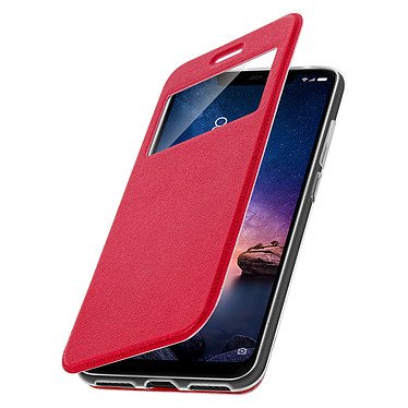 Avizar Etui folio Rouge Éco-cuir pour Xiaomi Redmi Note 6 Pro pas cher