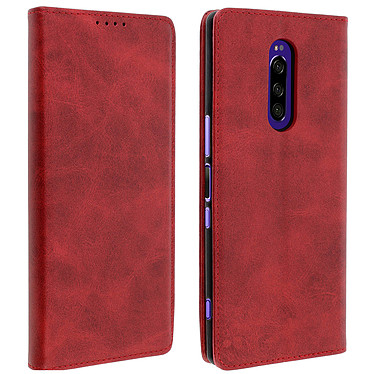 Avizar Etui folio Rouge Vieilli pour Sony Xperia 1 Etui folio Rouge aspect vieilli Sony Xperia 1
