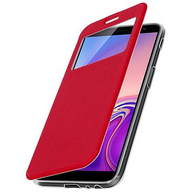 Avizar Etui folio Rouge à fenêtre pour Samsung Galaxy J6 Plus pas cher