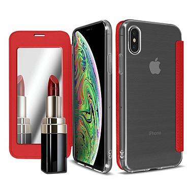 Avizar Etui folio Rouge Miroir pour Apple iPhone XS Max pas cher
