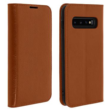 Avizar Etui folio Camel Cuir véritable pour Samsung Galaxy S10 Etui folio Camel cuir véritable Samsung Galaxy S10
