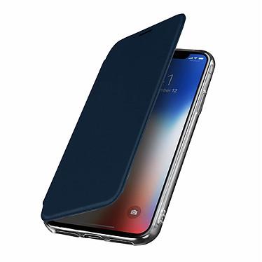Avizar Etui folio Bleu Nuit Miroir pour Apple iPhone X , Apple iPhone XS Etui folio Bleu Nuit miroir intégré Apple iPhone X , Apple iPhone XS