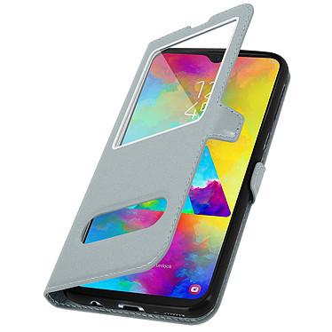 Avizar Etui folio Argent pour Samsung Galaxy M20 pas cher