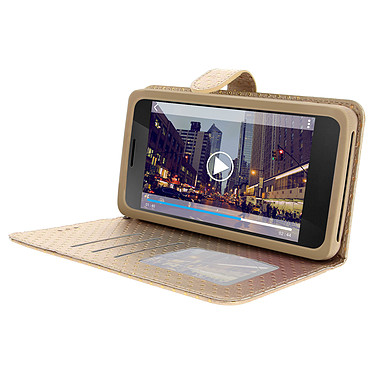 Avizar Etui folio Dorée pour Smartphones de 4.3' à 4.7' pas cher