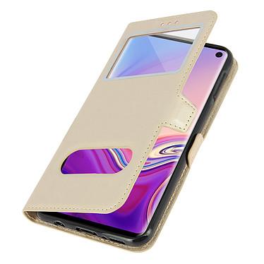 Avizar Etui folio Dorée pour Samsung Galaxy S10 pas cher