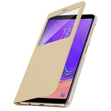 Avizar Etui folio Dorée à fenêtres pour Samsung Galaxy A7 2018 pas cher