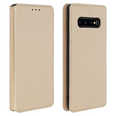 Avizar Etui folio Dorée Éco-cuir pour Samsung Galaxy S10 Plus Etui folio Dorée éco-cuir Samsung Galaxy S10 Plus