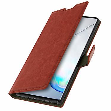 Avizar Etui folio Marron pour Samsung Galaxy Note 10 pas cher